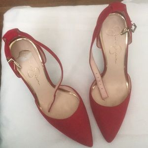 Red, ankle strap heels